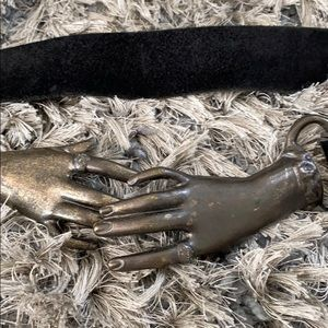 Leather and metal Entwined hands belt